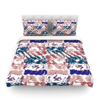 Nice Knot by Fernanda Sternier Featherweight Duvet Cover Color: Blue/Red, Size: Full/Queen