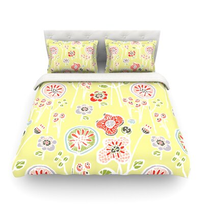 Folky Floral by Gill Eggleston Featherweight Duvet Cover Color: Green/Yellow, Size: Full/Queen