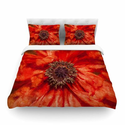 Poppy Orange Floral by Ginkelmier Featherweight Duvet Cover Size: Full/Queen