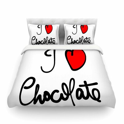 I Love Chocolate Food Typography Gabriela Fuente Featherweight Duvet Cover Size: Full/Queen