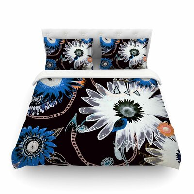 Dancing Flowers Orange Abstract by Fernanda Sternier Featherweight Duvet Cover Size: Full/Queen