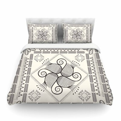 Paisley into the Dream Pattern by Famenxt Featherweight Duvet Cover Color: Beige, Size: Full/Queen