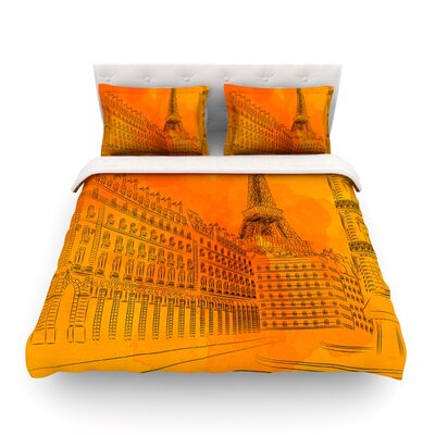 Parisian Sunsets Orange City by Fotios Pavlopoulos Featherweight Duvet Cover Size: Twin
