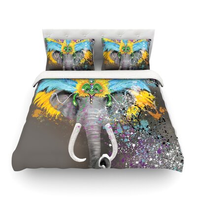 My Elephant with Headdress Rainbow by Geordanna Cordero-Fields Featherweight Duvet Cover Size: King