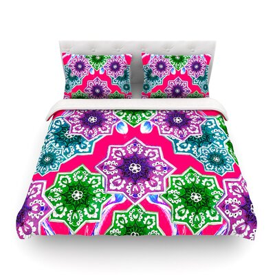 Flower Power Floral by Fernanda Sternier Featherweight Duvet Cover Size: Twin, Color: Red