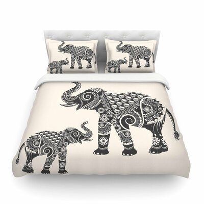 Ornate Indian Elephant-Boho by FamenxtFeatherweight Duvet Cover Size: Full/Queen