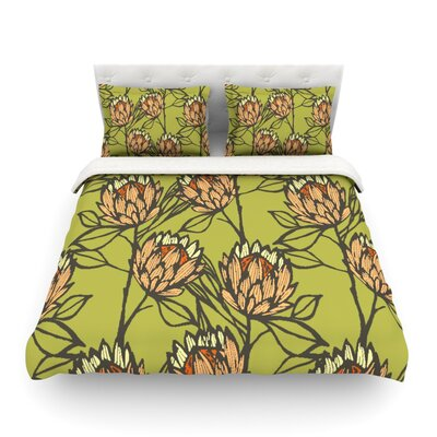 Protea Olive Flowers by Gill Eggleston Featherweight Duvet Cover Color: Olive/Green/Orange, Size: Full/Queen