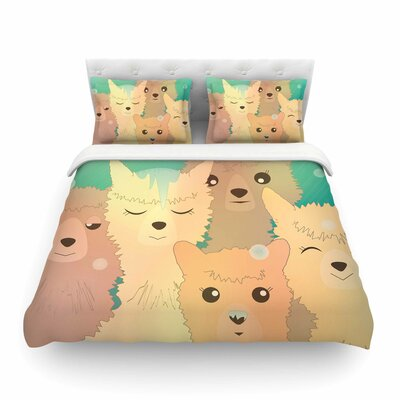 Alpacas in Snow Pastel Animals by Graphic Tabby Featherweight Duvet Cover Size: Twin