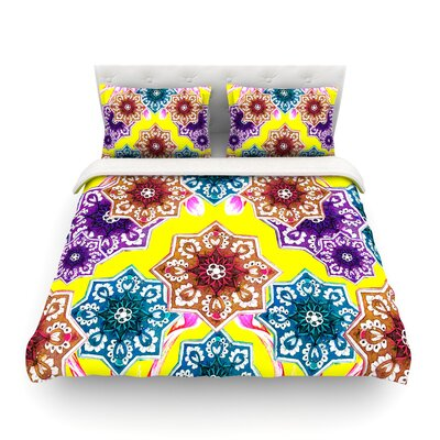 Flower Power Floral by Fernanda Sternier Featherweight Duvet Cover Color: Yellow, Size: Full/Queen