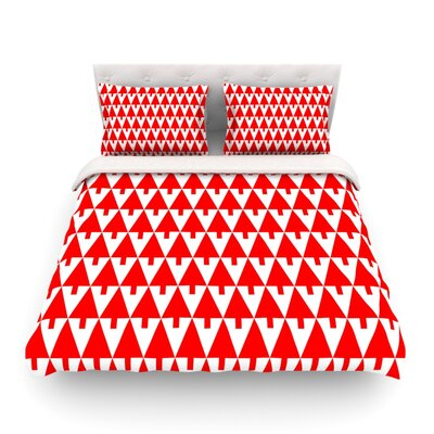 Happy X-Mas Illustration Geometric by Gabriela Fuente Featherweight Duvet Cover Color: Red, Size: King