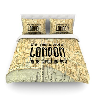 London Type Map by Alison Coxon Featherweight Duvet Cover Size: Queen