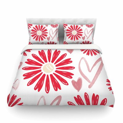 Hearts and Flowers Love by Alison Coxon Featherweight Duvet Cover Size: Queen