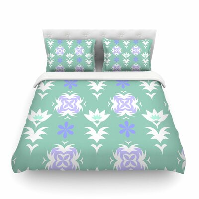 Edwardian Tile by Alison Coxon Featherweight Duvet Cover Color: Blue, Size: King