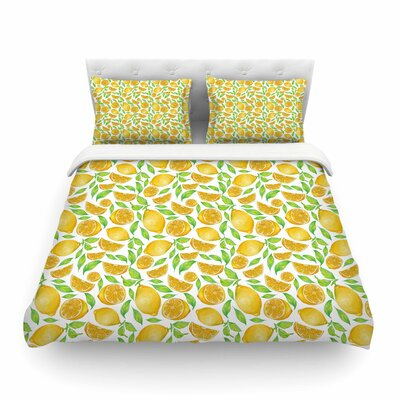 Lemon Floral by Alisa Drukman Featherweight Duvet Cover Size: Queen