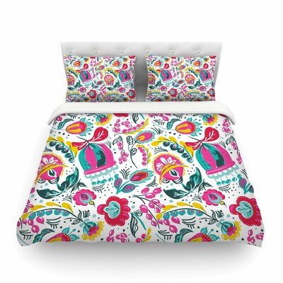 Folk in the Field Floral Pattrern by Agnes Schugard Featherweight Duvet Cover Size: King