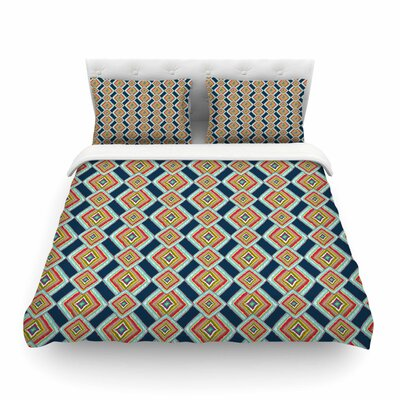 Rainbow Ikat Abstract by Amy Reber Featherweight Duvet Cover Size: Queen