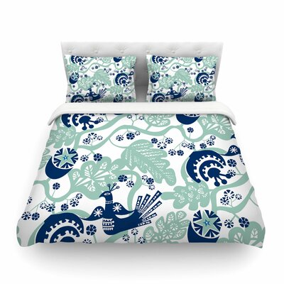 Folk Birds Vector by Agnes Schugard Featherweight Duvet Cover Size: Twin
