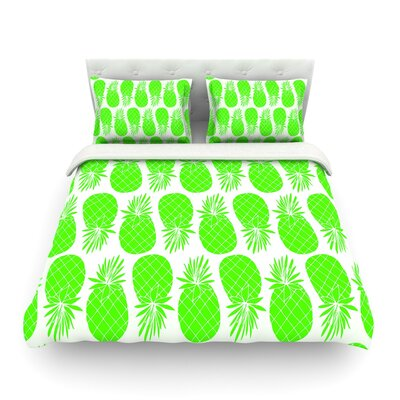 Pinya Neon by Anchobee Featherweight Duvet Cover Color: Neon Green, Size: Queen