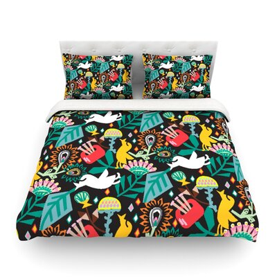 Folk Fusion Rainbow Abstract by Agnes Schugard Featherweight Duvet Cover Size: King