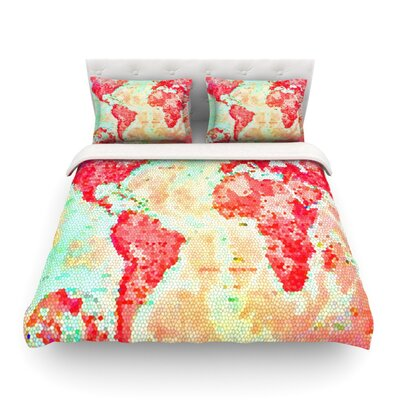 Oh The Places Wel Go World Map by Alison Coxon Featherweight Duvet Cover Size: Queen