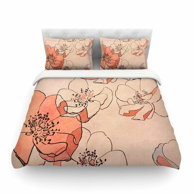 Painted Wild Roses by Alison Coxon Featherweight Duvet Cover Color: Coral, Size: King