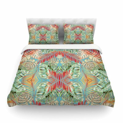 Summer Jungle Love by Alison Coxon Featherweight Duvet Cover Color: Blue/Red/Aqua, Size: Twin