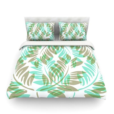 Dark Fern by Alison Coxon Featherweight Duvet Cover Color: Winter/Green /Teal, Size: Queen