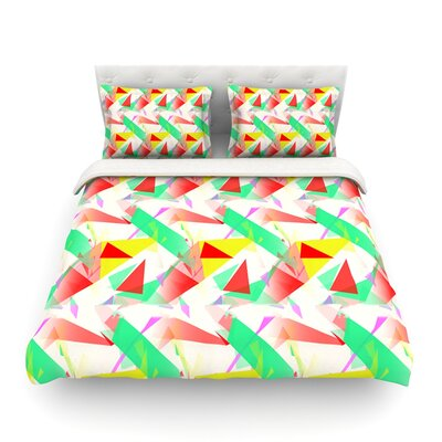 Confetti Triangles Dark by Alison Coxon Featherweight Duvet Cover Color: Red/Green, Size: King