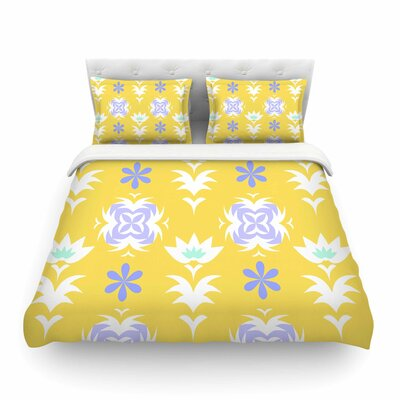 Edwardian Tile by Alison Coxon Featherweight Duvet Cover Color: Yellow, Size: King