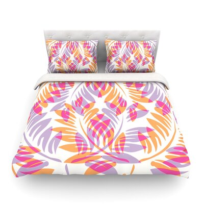 Dark Fern by Alison Coxon Featherweight Duvet Cover Color: Summer/Pink/Orange, Size: Queen