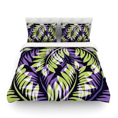 Dark Fern by Alison Coxon Featherweight Duvet Cover Color: Dark/Green/Purple, Size: Queen