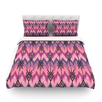 Indigo Orchid Chevron Arrows by Amanda Lane Featherweight Duvet Cover Size: Queen