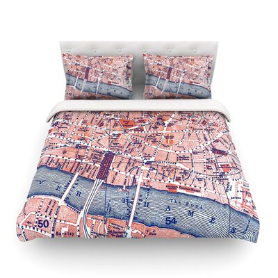 City of London Map by Alison Coxon Featherweight Duvet Cover Size: Queen