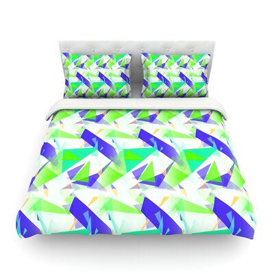 Confetti Triangles Dark by Alison Coxon Featherweight Duvet Cover Color: Blue/Green/Teal, Size: King