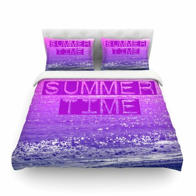Summer Time Typography by Alison Coxon Featherweight Duvet Cover Size: Twin
