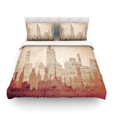 City Warm Tan by Alison Coxon Featherweight Duvet Cover Size: Queen