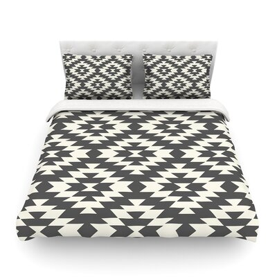 Navajo by Amanda Lane Featherweight Duvet Cover Color: Black/Cream, Size: Queen