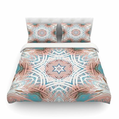 Tribe Coral by Alison Coxon Featherweight Duvet Cover Size: Twin