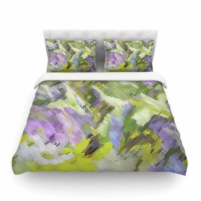 Giverny by Alison Coxon Featherweight Duvet Cover Color: Lilac/Yellow, Size: King