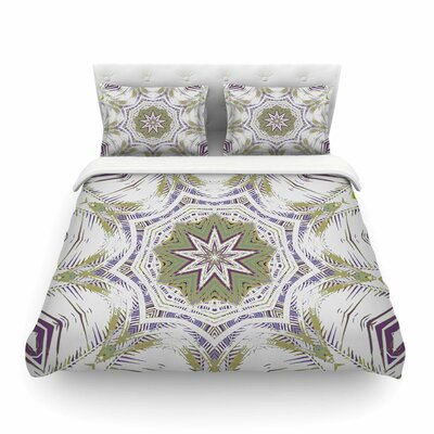 Boho Dream Olive by Alison Coxon Featherweight Duvet Cover Color: Purple/Green, Size: Queen