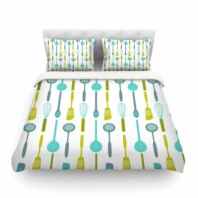 Kitchen Utensils Illustration by Afe Images Featherweight Duvet Cover Size: Queen