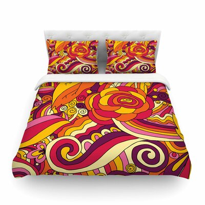 Birds In Garden 2 Abstract by Alisa Drukman Featherweight Duvet Cover Size: King