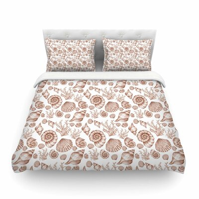 Seashells Abstrac by Alisa Drukmant Featherweight Duvet Cover Size: Twin, Color: Brown