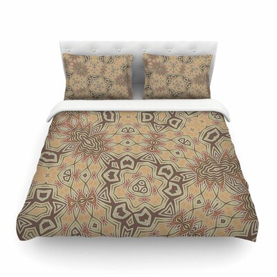 Tribal Earth Tan Lavender by Alison Coxon Featherweight Duvet Cover Size: King