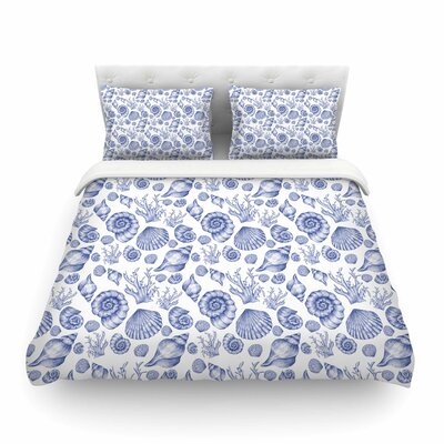 Seashells Abstrac by Alisa Drukmant Featherweight Duvet Cover Color: Blue, Size: King