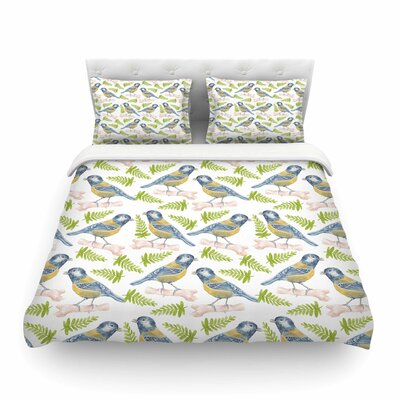 Bird. Tit Pattern by Alisa Drukman Featherweight Duvet Cover Size: King