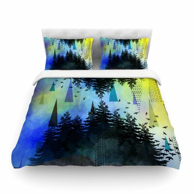 As Above So Below by AlyZen Moonshadow Featherweight Duvet Cover Color: Blue/Yellow, Size: Queen