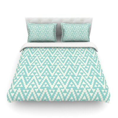 Geo Tribal by Amanda Lane Featherweight Duvet Cover Color: Turquoise Sky, Size: King
