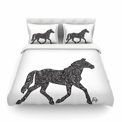 Horsie Horse Illustration by Adriana De Leon Featherweight Duvet Cover Size: King