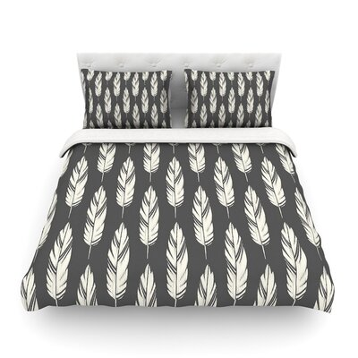 Feathers by Amanda Lane Featherweight Duvet Cover Color: Black/Cream, Size: Queen